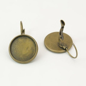 10pcs Bronze Colour French Lever Back Earrings Base 16mm Bezel Trays For Cameo's Cabochon