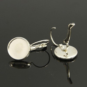 10pcs Silver Colour French Lever Back Earrings Base 12mm Bezel Trays For Cameo's Cabochon