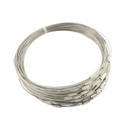 """NBEADS 100 Strands of Stainless Steel Wire Necklace Cord with Brass Screw Clasp for DIY Jewellery Making,Dark Grey,17.5""""x1mm"""