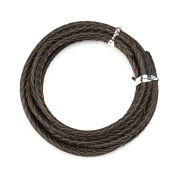 Sauvoo Beads Round Genuine Braided Leather Cord Bolo Tie Cording For Necklace Bracelet Jewellery Making 3 mm Diameter 2 Metre Roll