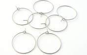 48 Wine Glass Charm Rings - Bent End - Vintage Silver Plated