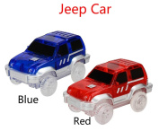 2-pack Jeep Tracks Led Lights-Up race toy car, Car Tracks with,4 LED Flashing Lights,Glow in the Dark Compatible with Most Tracks(Blue+Red),Perfect for Boys and Girls