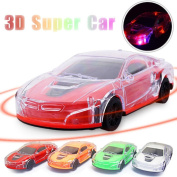 3D LED Flashing Wheel Sound Racing Car Music Lighting Super Car Automatic Steering Toy