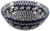 Polish Pottery 1.75 Cup Cereal Chilli Soup Bowl - In the Pattern KOT6 Subtle Cats Blue White
