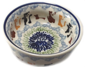Polish Pottery 1-Cup Baby Cereal Bowl - In the Pattern KOT4 Primitive Cats