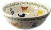 Polish Pottery 1.75 Cup Cereal Chilli Soup Bowl - In the Pattern DFOL Dogs Cats on the Farm
