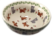 Polish Pottery 1.75 Cup Cereal Chilli Soup Bowl - In the Pattern DKOT Dogs and Cats