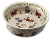 Polish Pottery 1-Cup Baby Cereal Bowl - In the Pattern DKOT Dogs and Cats