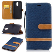 For Motorola Moto G4 Case,Moto G4 Plus Case [with Free Screen Protector], Qimmortal(TM) Premium Soft PU Leather Cowboy Cloth Wallet Cover Case with [Kickstand] Credit Card ID Slot Holder Magnetic Closure Design Folio Flip Protective Slim Skin Cover For ..