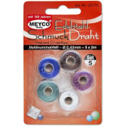 Meyco – 28175 Stainless Steel Beading Wire Set Nylon Coated – ø0,45 mm, Blue, Green, White, Brown, Pink