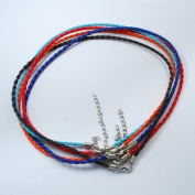 5pcs Random Mix Colour Braided Faux Leather 3mm Cord Necklaces ~ 17""