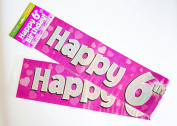 Happy 6th Birthday Banner Age Girl Pink Holographic Wall Kids Party Decorations