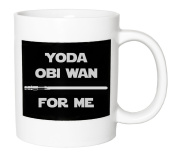 Fun Star Wars-esque Ceramic Mug Gift - Yoda Obi One For Me with Lightsaber by Haysoms