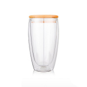 Glass Tea Cup, Outgeek Double Layer Clear Glass Tea Cup with Bamboo Lid Glass Coffee Milk Mug