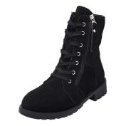 SUKEQ Women Suede Soft Leather Ankle Boots Zipper Lace Up Mid-calf Short Plush Boots Shoes
