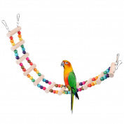 Petacc Flexible Parrot Rainbow Swing Bridge Colourful Ladder Bird Toy Funny Parrot Wooden Bridge with Colourful Wooden Beads and Hooks, Suitable for Parrot Training
