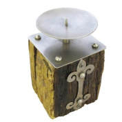 Rustic Railway Sleeper Candle Holders with Weathered Silver Metal Gothic 17cm