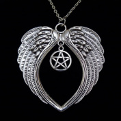 Large Antique Silver Angel Wing + Pentagram Necklace