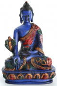 BUDDHAFIGUREN Medicine Buddha Statue Figurine 13.5 CM Blue Resin Hand Painted