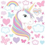 GET STICKING DÉCOR® MAGICAL UNICORN/ HORSE WALL STICKERS COLLECTION, Rainbow Unic.4, Matt Vinyl, Multi Colour.