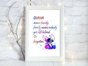 ohana lilo stitch a4 glossy print poster UNFRAMED picture nursery gift