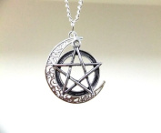 Antique Silver Moon and Pentagram Necklace