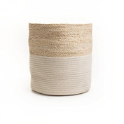 Chickidee Homeware Sonder Husk Storage Basket Small, Rope And Seagrass, Natural and Beige, 26 x 26 x 25 cm
