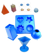 Proops Set of 4 Candle Moulds, 1 x Tray with 4 Shapes, 1 x Pyramid, 1 x Sphere, 1 x Rectangular Tapered (S7556). Free UK Postage