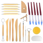 YunLi 23 PCS Pottery Clay Tools,8 pcs Set Clay Ceramics Moulding Tools + 5 pcs Rubber Tip Paint Brushes + 5 pcs Ball Stylus Tools Dotting Sculpting Modelling Tool + 5 pcs Ceramic Pottery Clay Tool