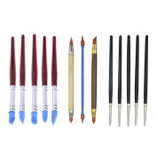 YunLi 13 Pcs Rubber Tip Paint Brushes Two-Head Clay Colour Shape Pottery Clay Sculpture Carving Tools for Modelling,Craving