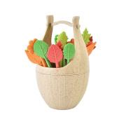 Fullfun Leaves Fruit Fork Set With Wooden Barrel Holder, Creative Home Decoration