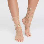 Lady Gauze Star Patch Socks.,Mamum Women Fashion Glitter Star Soft Mesh Sock Transparent Elastic Sheer Ankle sock Beige / Grey / Pink