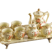 YUYUAN European-style luxury pottery 8 rose ivory ceramic coffee set living room furniture , 8 roses
