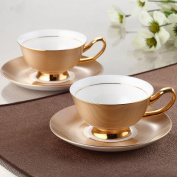 YUYUAN Continental premium bone porcelain coffee cup and saucer set wedding local Gold Cup