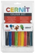 CERNIT 10 COLOUR SET OVEN BAKE MODELLING CLAY WHITE / BLACK / BLUE / RED / GREEN / ORANGE / YELLOW / PINK / BROWN / TURQUOISE 330g