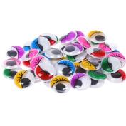 Profusion Circle 100pcs Mixed Colour Adhesive Wiggly Googly Eyes DIY Craft Doll Making Accessory