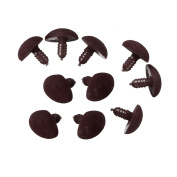 20 Pcs Triangle Velvet Bear Toy Nose Buttons DIY 15mm Mini Teddy Bear Doll Safety Eyes Buttons Craft Handmade Tools