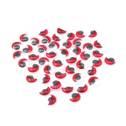 ODN 100PCS Plastic Safety Wiggle Eyes Googly Eyes With Eyelashes for Arts Crafts Making Red 15mm