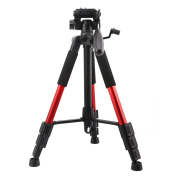 MoKo Panoramic Camera Tripod, 140cm Professional Compact Lightweight Travel Aluminium Camera Tripod with 3-Way Pan Head and 0.6cm Quick Release Plate for Canon Nikon Sony DSLR Camera with Carry Bag, Red
