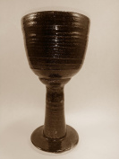 Aunt Chris' Pottery - Hand Made Clay - Ample Celtic Goblet - Glazed Burnt Brown Colour - Beautiful to Display and Marvellous to Use - Food, Microwave, Oven And Dishwasher Safe - Non Toxic Glaze