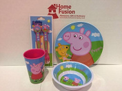 Peppa Pig Childrens Kids Melamine Plate Bowl Cup Cutlery Fork & Spoon Set Gift