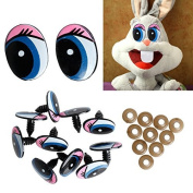 Dairyshop 5 Pairs Oval Blue Safety Plastic Eyes Toy Puppets Dolls Eyes 24 x18mm New
