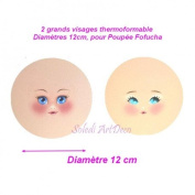 2 Large Heat-Mouldable Faces, Diameter 12 cm, for Fofucha doll