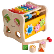 6 in 1 Shapes xylophone toys with Mirror Around the beads Christmas gift count Roller Coaster Gear Knock Piano Toy for Kids