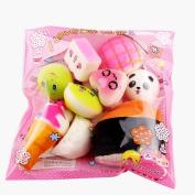 Trimakeshop Random Squishy Cream Scented Slow Rising Kawaii Simulation Bread Children Toy, Soft Squishy Cake/Panda/Bread/Buns Phone Straps, Jumbo/Medium/Mini 10PCS