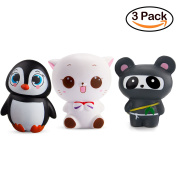 WATINC Kawaii Jumbo White Cat & Penguin & Ninja Panda Squishy Slow Rising Sweet Scented Vent Charms Kid Toy Hand Toy, Stress Relief Toy , Decorative Props Doll Gift Fun Large