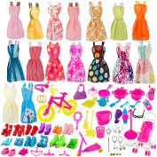 BeYumi 130 Pcs Doll Clothes Set for Barbie Dolls Include Random 16 Pack Party Gown Outfits + 10 Pairs of Shoes + 104 Pcs Doll Accessories for Various Doll, Great Gift for Girls
