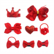 8 pcs Pretty Hair Accessories, Baby Little Girls Hair Clips, Hair Bows, Ribbon Lined Alligator Hair Clips, Hair Bands, Red