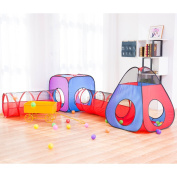 HAN-MM 4pc Pop Up Children Play Tent with 2 Crawl Tunnel & 2 Tents for Girls, Boys, Babies, Kids and Toddlers with Zipper Storage Bag