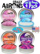 Crazy Aaron's Thinking Putty Mini Tins (.1390ml each) Neon Flash, Love is in the Air, Amethyst Blush & Ion Gift Set Bundle - 4 Pack